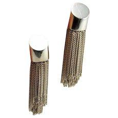 Large Sterling Silver Artisan Fringe Earrings Big Tassel Earrings Chandeler Earrings Drop Dangly Chain Earrings Statement Earrings 925 Fine