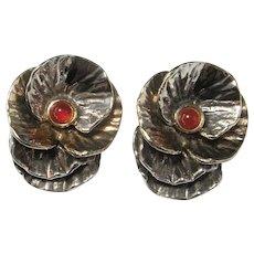 Huge Silver Earrings Big Clip On Earrings 925 Sterling Clipon Earrings Large Flower Earrings Carnelian Cabochon Earrings Gilt Gold Plated