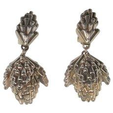 Huge Electroformed Earrings Sterling Silver 925 Statement Drop Earrings Electroform Jewelry Chandelier Earrings Big Earrings 1980s Jewelry