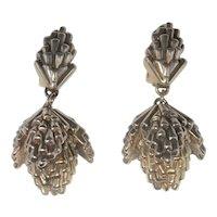 Huge Electroformed Pin Cone Organic Chunky Statement Big Sterling Silver 1980s Earrings