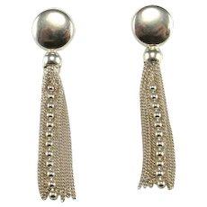 Long Sterling Silver Tassel Earrings Fringe Earrings Sexy Earrings Minimalist Earrings Delicate Dangle Earrings Dainty Earrings Evening 925 Cocktail Evening