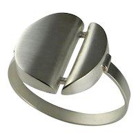 Modernist Sterling Silver Cuff Bangle Bracelet Artisan Cuff Bracelet Mid Century Jewelry Minimalist Bracelet Statement Bracelet 1970s Bangle