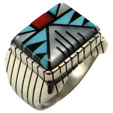 Natural Turquoise Ring Turquoise Inlay Ring Native American Indian Ring Jewelry Mid Century Ring Mens Signet Ring Sterling Silver 925 Fine