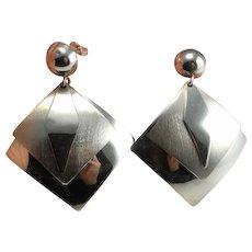 Minimalist Drop Earrings Dangle Dangly Earrings Sterling Silver Modernist Earrings 925 Geometric Earrings Abstract Earrings Chandelier Fine