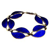 COBALT ELECTRIC BLUE Enamel Bracelet Sterling Silver 925 Vermeil 1950s Bracelet Guilloche Enamel Bracelet Jewelry Leaves Bracelet Statement