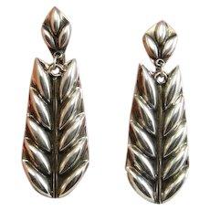 Art Deco Earrings Long Leaf Drop Earrings Leaf Chandelier Earrings Leaf Dangle Earrings Silver Leaf Earrings Art Deco Jewelry Sterling 925 1920s 1930s Gatsby Downton Abbey