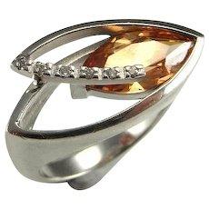 Citrine Topaz Ring Madeira Citrine Ring White Topaz Ring Sterling Silver 925 Geometric Modernist Ring Statement Ring Marquise Cut Rings