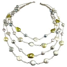 Multistrand Cultured Pearl Necklace Bib Drape Necklace Multi-Strand Chain Necklace Pearl Station Necklace Sterling Silver 925 Silver Gold Pink Boho Wedding Bridal Baroque Coin Pearl Multi Color