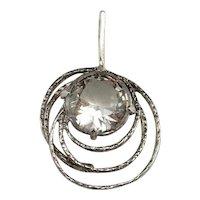 NATURAL Rock Crystal Quartz Pendant Necklace Fine Chain 925 Sterling 835 Silver Modernist Necklace Pendant Geometric Pendant Jewelry Fine