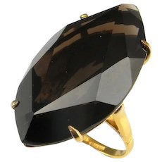 HUGE Smoky Quartz Ring Big Quartz Ring Solitaire Ring Gold Plated Sterling 925 Silver Ring Unisex Ring Large Rings Chunky Ring Modernist