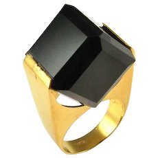 Natural Smoky Quartz Ring BIG Cube Ring Gold Plated Sterling Silver 925 Rings Unisex Rings Jewelry Modernist Rings Mid Century Rings Jewelry Geometric Ring Jewelry  Boho Bohemian