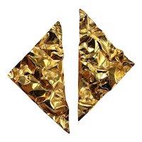 HUGE Gold Plated Earrings 925 Sterling Silver Statement Earrings Big Earrings 1980s 80s Earrings 1980s 80s Jewelry Modernist Earrings Geometric  Triangle Jewelry Space Huge Crinkled Brutalist