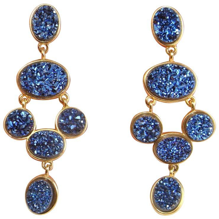 Synthetic Blue Drusy Quartz Gold Plated Sterling Silver Earrings Drop Statement