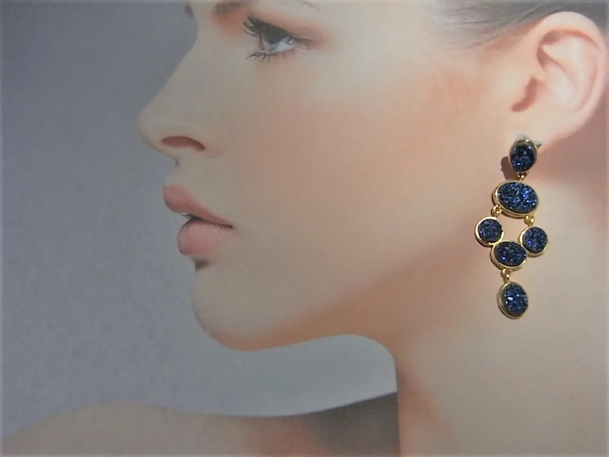Click To Expand Synthetic Blue Drusy Quartz Gold Plated Sterling Silver Earrings Drop Statement