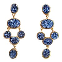 Synthetic Blue Drusy Quartz Gold Plated Sterling Silver Earrings Blue Drop Earrings Statement Earrings Gold Plated Chandelier Earrings 925