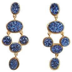 Synthetic Blue Drusy Quartz Gold Plated Sterling Silver Earrings Blue Drop Earrings Statement Earrings Gold Plated Chandelier Earrings 925