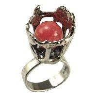 Rhodochrosite Flower Mid Century Modernist Silver Statement Ring