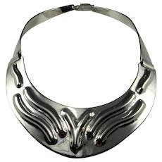 STERLING SILVER STATEMENT Necklace 925 Collar Necklace Wide Silver Necklace Runway Necklace Artisan Silver Necklace Big Silver Necklace