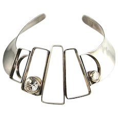 MODERNIST STERLING CHOKER Collar Necklace Silver 925 Sterling Silver Collar Space Age Geometric Collar Jewelry 1980s Necklace Statement Active