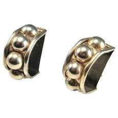 LARGE STATEMENT EARRINGS Clip On Sterling Silver Earrings Ear Clips Clipon Non Pierced Earrings 925 Arc Modernist Geometric Earrings Fine