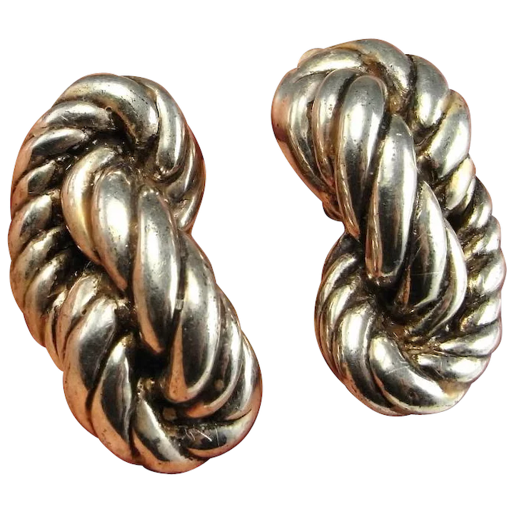 Rope Twist Earrings Sterling Silver Knot 925 Clip On Ear Clips Non Pierced Statement Large 1980s 80s