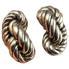 Rope Twist Earrings Sterling Silver Knot Earrings 925 Clip On Ear Clips Non Pierced Earrings Statement Earrings Big Large Earrings 1980s 80s