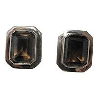 Geometric Chunky Clip On Smoky Quartz Sterling Silver Vintage Earrings