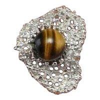 Big Tigers Eye Sphere Mid Century Modernist Unisex Silver Ring