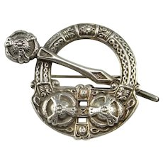 Sterling Silver Celtic Irish Inspired Brooch Pin Jewelry Ancient Revival Style Brooch Unisex Brooch Art Deco