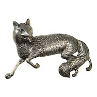 FOX BROOCH 1930s Art Deco Fox Pin Brooch Sterling Silver Fox Jewelry Large Fox Brooch Animal Jewelry Animal Brooch 30s 40s 20s Gatsby 925
