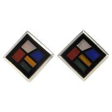 Geometric Clip On Sterling Silver Earrings 1980s Earrings 80s Earrings Modernist Earrings Square Earrings Mondrian Style Minimalist Inlay