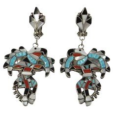 Zuni Earrings Vintage Inlay Inlaid Turquoise Earrings Native American Indian Drop Earrings Clip On Statement Old Pawn Earrings Sterling 925