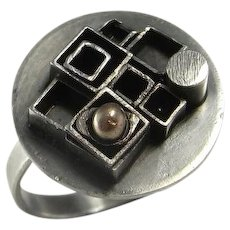 Geometric Ring Geometric Sterling Silver Vintage Silver Ring Handmade One of a Kind Ring Circle Signet Ring Unisex Ring Jewelry Modernist Mid Century Boho Bohemian