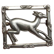 Deer Brooch Silver Antique Animal Pin Sterling Deer Jewelry Animal Jewelry Art Nouveau Brooch Pin 925 Jugendstil Jewelry Brooches Fawn Pin