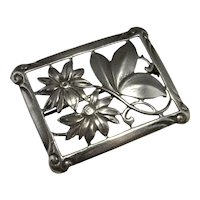 Art Deco Silver Brooch Pin Handmade Antique Sterling Flower Brooch 1920s Jewelry Daisy Brooch Pin Butterfly Brooch Artisan 30s