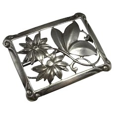 Art Deco Silver Brooch Pin Handmade Antique Sterling Flower Brooch 1920s Jewelry Daisy Brooch Pin Butterfly Brooch Artisan 30s