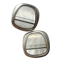 1970s White MOP Mother of Pearl Shell Inlay 1970s Modernist Groom Dress Vintage Cuff Links Cufflinks