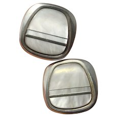 Mother of Pearl Cufflinks MOP Cuff Links Silver Mid Century White Silver Cufflinks Inlay Cufflinks Retro Cufflinks Mens Grooms Cuff Links
