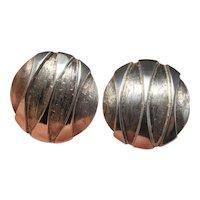 1950s Geometric Mid Century Modernist Circle Circular Screw on Non Pierced Silver Earrings