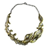 Vermeil Jewelry Sterling Silver Flames Collar Necklace Statement Necklace Modernist Necklace Choker Necklace Golden Flame Chunky Boho 1980s Unique Designer Handmade