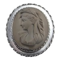 Lava Cameo Brooch Lava Cameo Pin Large Lava Cameo Sterling Silver 1930s Cameo Brooch