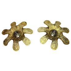Pair of Italian Murano Glass Flower Sconces by Mazzega