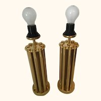 One Pair of Mid Century Brass French Tube Table Lamps