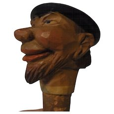Vintage Italian ANRI Wood Carved Bottle Spout Man with Hat
