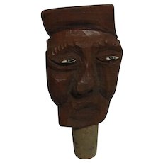 Vintage German  Wood Carved Bottle Stopper Man