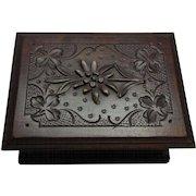 Antique Black Forest Carved Wood Trinket Box ca.1900
