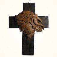 Vintage Wood Cross Carved Jesus Head Relief