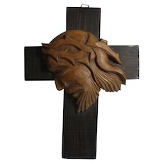 Vintage Wood Cross Carved Jesus Head Relief