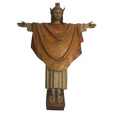 Rare Vintage Carved Wood Corpus Christi