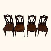 Four Wood Chair Antique German Dollhouse
